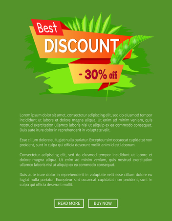 Best discount summer sale 30 off promo tropical banner. Seasonal low price poster with exotic palm leaves. Big summertime reduction vector online web page