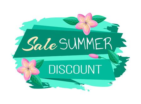 Banner de promoción de descuento de venta y verano con flores. Cartel comercial exclusivo de verano con flores tropicales rosas ilustración vectorial de dibujos animados. Ilustración de vector