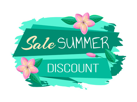 Sale and summer discount promo banner with blossoms. Exclusive summertime commercial poster pink tropical flowers cartoon vector illustration. Illustration