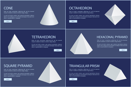 Cone and octahedron figures, white prisms. Tetrahedron, hexagonal or square pyramids triangular geometric shapes vector illustrations set on banners.