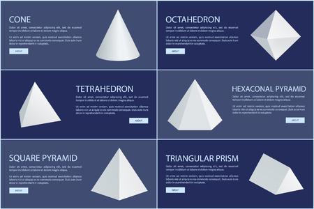 Kegel- und Oktaederfiguren, weiße Prismen. Tetraeder, sechseckige oder quadratische Pyramiden dreieckige geometrische Formen Vektorillustrationen auf Bannern gesetzt.