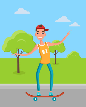Teenager skateboarding vector illustration. Young man on skate, skateboarder in t-shirt and jeans in green park on background of trees and bushes.