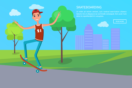 Skate sport banner, skateboarder in shirt and jeans making tricks on skateboard, 21 June Go skateboarding day male character poster with push button.