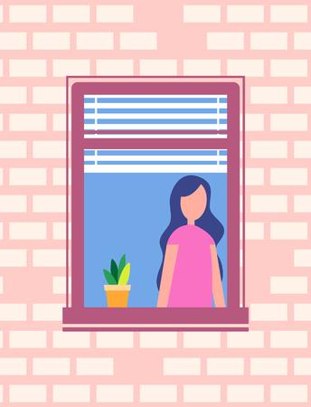 Woman stands near open window, flower pot on windowsill, girl neighbour inside framework in brick wall, faceless character design vector illustration.