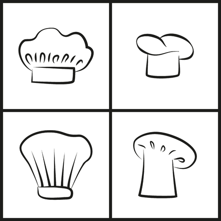Chef hats monochrome minimalist sketches set. Headdresses as element of cook work uniform. Elegant headgear isolated cartoon vector illustrations. Illustration