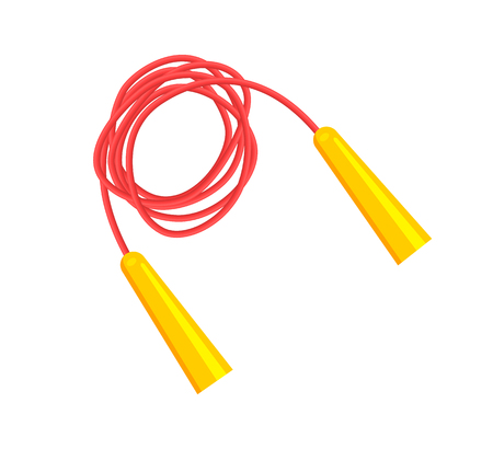 Red jump rope with bright yellow handles, image of sports equipment, colorful tool to do exercise template vector illustration isolated on white.