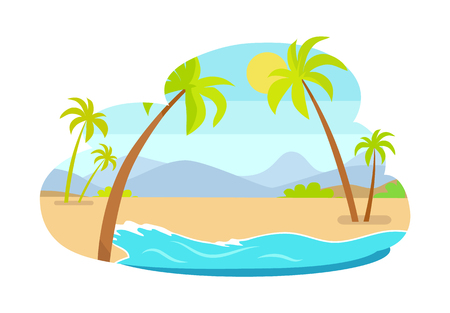 Palm trees on coastline with mountains in background, hot summer landscape sea coast and exotic palms, summertime resort isolated vector illustration. Illustration