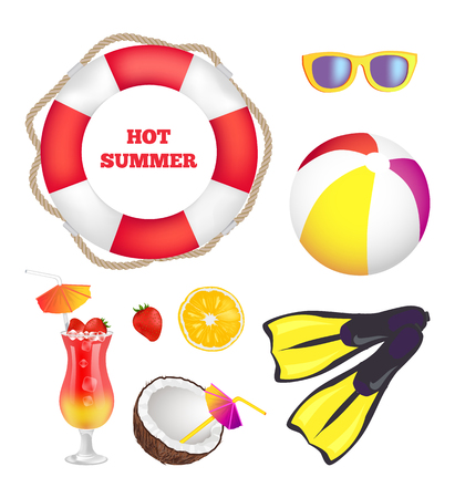 Hot summer items collection sunglasses near ropes, lifebuoy with ball, title for summertime poster, banner and elements isolated vector illustrations. Illustration