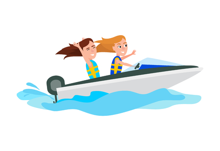 Boating activity in summer, girls have fun while ride boat, water of sea, seasonal extreme sport, vector illustration isolated on white background.