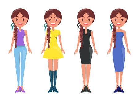Woman in blue jeans, yellow elegant dress, black office suit, summer mode gown vector illustrations of isolated apparels on cartoon female characters. Illusztráció