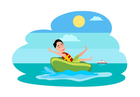 Donut ride watersport activity, boy has fun with rubber ring in sea or ocean, ship on background, man who wears waterproof vest vector illustration. Illustration