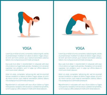 Yoga and sportive woman, text sample under headline over information about poses, banners collection vector illustration isolated on white background. Illustration