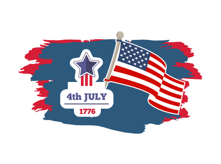 4th July Independence day banner with date of year 1776 holiday and flag pole, poster brush stroke, vector illustration, isolated on white background