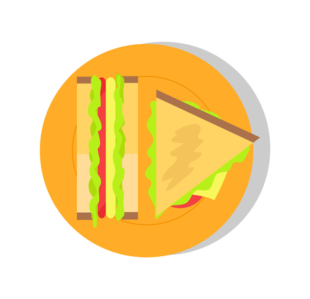Big triangular sandwich, colorful vector banner, illustration with fresh salad in bake buns, snack and various sauces, round dish, white backdrop.