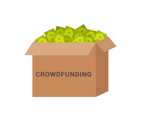 Crowdfunding box with money, package banknotes dollars in case and headline on it finance vector illustration isolated white background icons Çizim