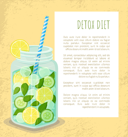 Detox diet poster mug refreshing drink with lemon slices, fresh cucumber, mint leaves, cubes of ice vector dieting cocktail with straw, add text Ilustração