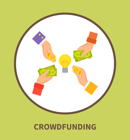 Crowdfunding Promo Logo with Hands that Hold Money Иллюстрация