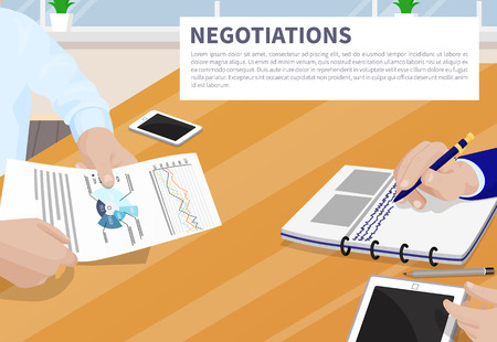 Negotiation colorful banner vector illustration strategy text charts diagram, analytics and statistics diagrams, businessman with mobile gadgets