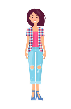 Pretty brunette in fashionable ripped jeans or trousers, vogue shirt with square pattern, pink top, stylish shoes, cartoon flat vector illustration.