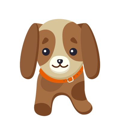 Dachshund picture of dog, with long ears, poster with pet, kind expression on face, animal and puppy, vector illustration isolated Иллюстрация