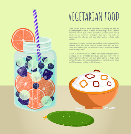 Vegetarian food poster refreshing summertime detox diet juice with pieces of grapefruit, blueberry and bilberry, bowl of rice porridge, green cucumber Ilustração