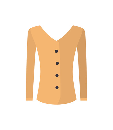 Modern female shirt, beige wear with black buttons, top that has long sleeves. Vogue feminine clothing sample isolated cartoon vector illustration.