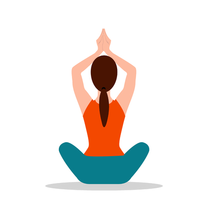 Sitting position of yoga, woman sits and raises her hands above head, floor pose for meditation, vector illustration isolated on white background.