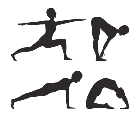Yoga and fitness activities set, shapes or silhouettes of woman does exercises with poses cartoon vector illustrations collection isolated on white. Ilustração