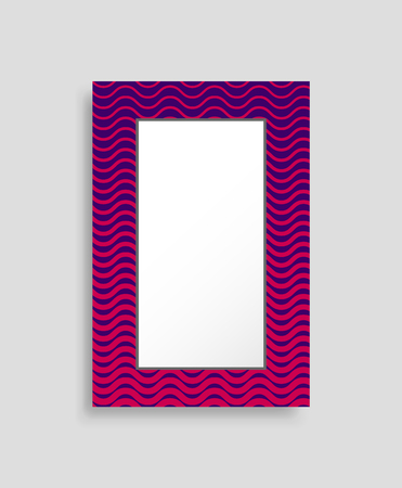 Rectangular frame colorful vector illustration isolated on bright background, abstract photo box template, image of pretty item with waving pattern