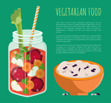 Vegetarian food banner detox refreshing healthy cocktail made of carrot slices, beet and fresh apple parsley and lettuce, bowl of rice with raisins Illustration