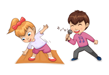 Hobbies of children collection, girl wearing training clothes, bow on hair, male in pink t-shirt singing happily, set isolated vector illustration