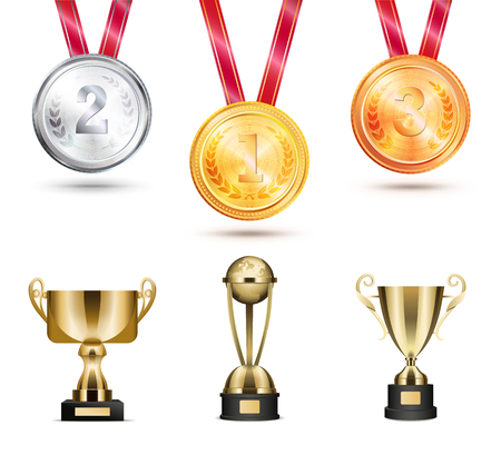 Medals trophies collection, set awards made of gold, silver and bronze cups different shapes vector illustration isolated on white color background Archivio Fotografico - 111561259
