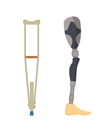 rutches made of wood and artificial leg prosthesis for injured people disabled, objects set designed to ease life, isolated on vector illustration Stock Illustratie