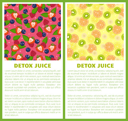 Detox juice poster ingredients of refreshing drink citrus fruits, green kiwi, cut strawberry and blueberry, mint leaves vector banners with text set