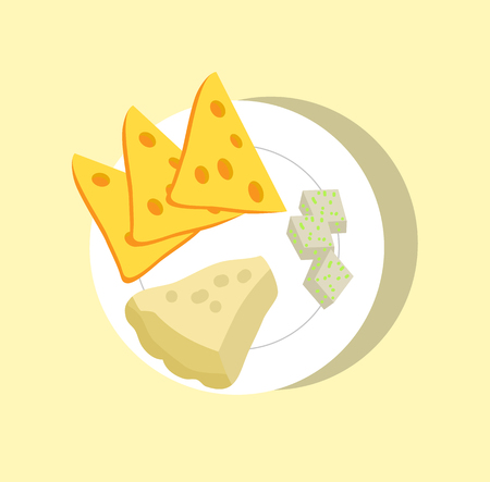 Different sorts of cheese set, colorful poster, cartoon vector illustration, cheese with holes, edible mold, sliced dairy on round fragile dishware.