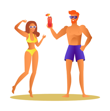 Couple at Summer Holidays Concept. Man in Shorts