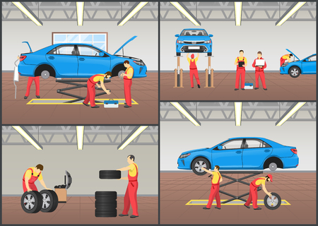 Automobile workshop set of vector illustrations mechanics in work equipment and vehicles on lifts, wheels or tyre fitting, engine inspection service