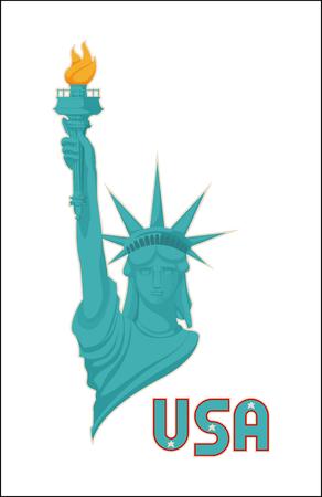 Statua della libertà USA simbolo nazionale illustrazione, donna con la mano che si alza e fiamma ardente nella torcia, cappello corona astratto sul monumento famoso in tutto il mondo Vettoriali