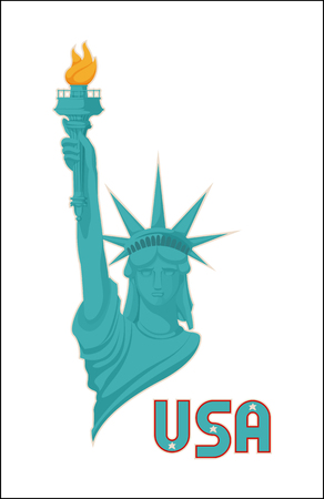 Statue of liberty USA national symbol illustration, woman with rising hand and burning flame in torch, abstract crown hat on world famous monument