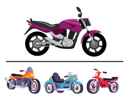 Motorized bicycles collection, purple scooter and motorbikes on your choice, vector illustration mopeds delivery service transports isolated on white Illustration