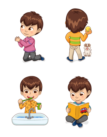 Little cute boy does casual childish actions. Child asks for forgiveness on knees, plays with dog, brushes teeth and reads book vector illustrations.