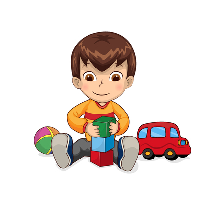 Child playing games connected with cubes, car and ball, bricks constructor for children creativity development vector illustration isolated on white