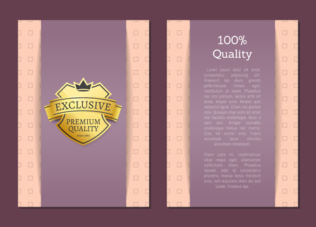 100 quality award exclusive premium brand gold label approving standard. Golden sticker for products of best choice. Promo logo crowns vector poster Logó
