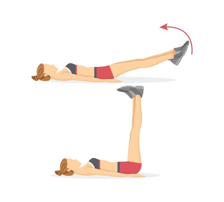 Bein hebt Tabata-Übungen, Fitnessprogramm von Frauen, Aktivität für Menschen, die die Sportvektorillustration isoliert auf weißem Hintergrund lieben.