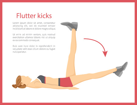Flutter kicks banner text sample and headline, fit strong doing tabata under information cartoon vector illustration isolated on white background.