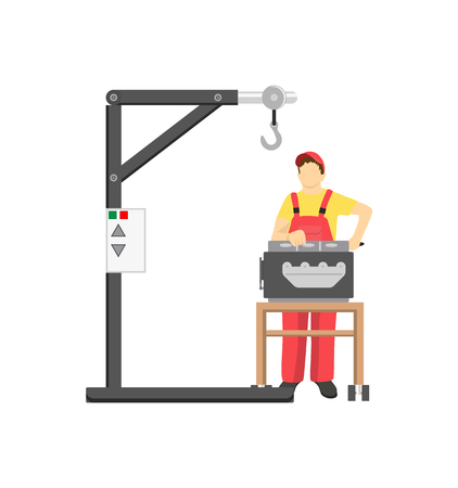 Engine service color banner automobile workshop, vector illustration with special lift for installing car s motors and mechanic stands near auto mover