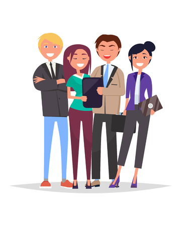 Entrepreneurs executive workers successful team, collection of men and women in expensive formal wear, with documents and digital devices in hands, vector