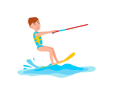 Kitesurfing and happy boy with smile on face, man standing on board and holding rope, vector illustration isolated on white background Vectores
