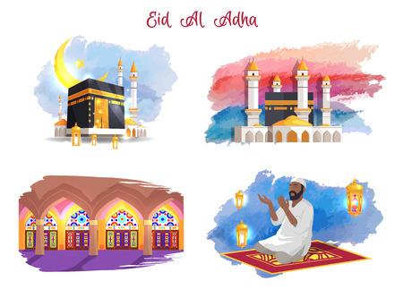 Conjunto de imágenes temáticas de vacaciones musulmanas de Eid Al Adha Ilustración de vector
