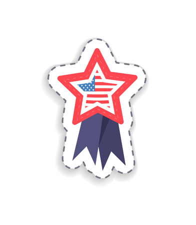 Flag placed in star shaped figure with ribbons, Grand Union of United States symbolizing July fourth in summer, celebration day vector illustration